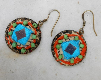 Silk and shisha earrings