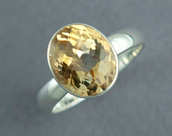 Citrine Cocktail Ring, Oval Faceted Stone, Bright Yellow Stone, Solid Sterling Silver Ring, Made to Order, Free Courier Shipping