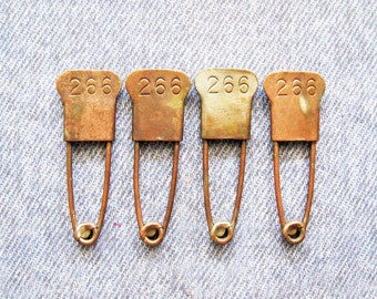 Military Horse Blanket Laundry Pin Number ID Tag Lot Antique Brass Rustic & Primitive Army Field Gear Safety Pins