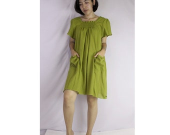 Venom green cotton boho simply tunic blouse /dress s-l (SD 1)