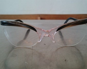 Vintage Womens Cat Eye Glasses Black Brown and Mother of Pearl Shell  1950's - 1960's