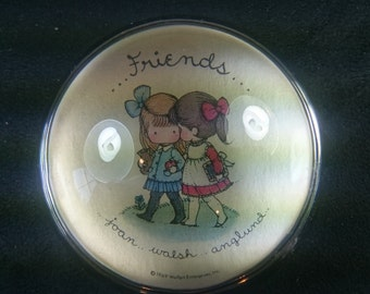Vintage Joan Walsh Anglund Friends Glass Paperweight 1969