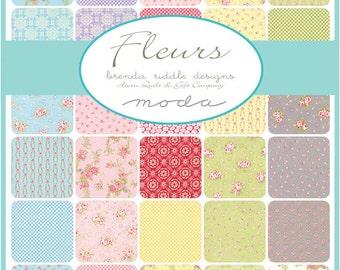 "SQ45 Moda FLEURS Precut 5"" Charm Pack Fabric Quilting Cotton Squares Brenda Riddle 18630PP"