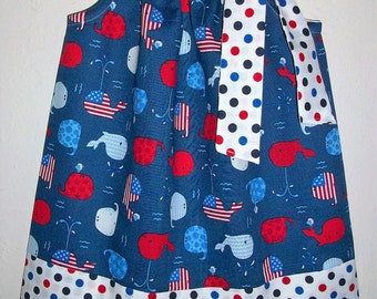 12m Patriotic Dress with Whales Pillowcase Dress 4th of July Dress Red White & Blue Whale Dress Baby Dress Patriotic Outfit Ready to Ship