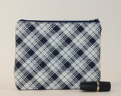 Divided Cosmetics Bag - 2 Compartments - Navy Plaid
