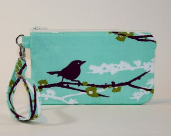 Wristlet / Padded Zipper Pouch - Aqua Sparrows