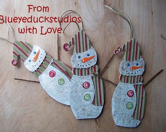 UpCycled Art, RePurposed ReClaimed Cardboard, SNOWMAN ornament, Christmas Tree, Strawberry Lime, Hand Painted Decoration, Folk Art Ornie