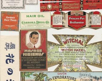 75 1930s plus Medicine cabinet Labels Drugstore,Pharmacy ,Poison ,BEAUTY,COSMETICS,French Perfume,Witch Hazel etc