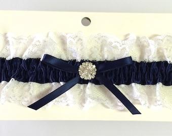Navy Blue and White Wedding Toss Garter