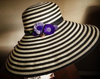 Large brim hat upcyled