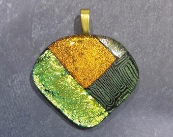 Orange Pendant, Autumn Fused Glass Pendant, Omega Slide Pendant, Orange, Gold, Olive Green Dichroic, Fused Glass Jewelry - Tally- -6