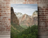 Zion Utah Landscape Print, Nature Photography, Large Utah Decor, Mountains, Forest Print, Inspirational Art, Cliffs and Valley Epic Nature
