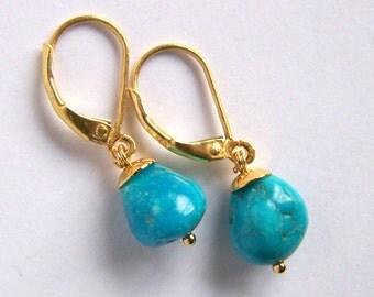 Arizona Sleeping Beauty Turquoise earrings gold vermeil Small drop earrings Bohemian rustic jewelry, blue turquoise american turquoise gold