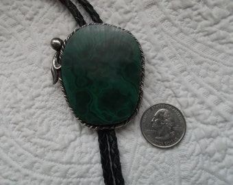 Large Striking Artisan Made Sterling Silver and Malachite Bolo Tie