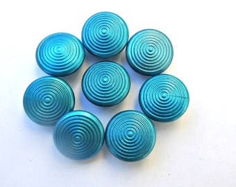 15 Antique vintage blue shade metal buttons, for buttons jewelry, sewing, knitting, 13mm