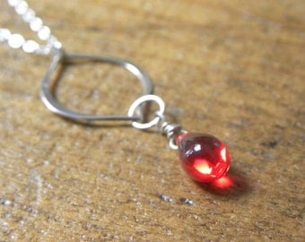 Single red teardrop Glass and Sterling Silver necklace - 17 1/2 inch Sterling Silver chain