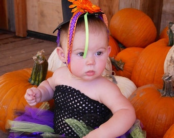 Baby Girl Witch Costume - Halloween Witch Tutu and Hat - Toddler Costume