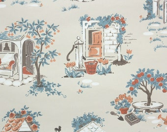 1950s Vintage Wallpaper by the Yard - Novelty Kitchen Wallpaper Blue and Peach Stone Cottage and Garden