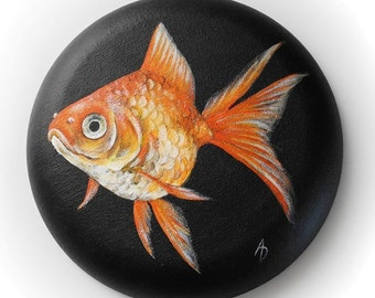 Gold fish painting - round canvas - bubble circle canvas - realistic orange fantail goldfish art - round painting - aquarium fishbowl art