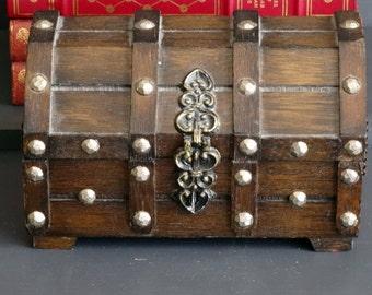 Wood Treasure Chest Jewelry Box Dome Lid Trinket Box