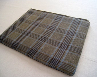 """Blue and Gray Plaid -  Macbook 13"""" Air or Macbook 13 Inch Pro - Laptop Case - Laptop Sleeve - Cover - Bag - Padded and Zipper Closure"""