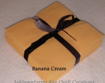 Solid BANANA CREAM, FLANNEL Fabric Squares, Rag Quilt, Traditional Quilting, pick size & quantity, We Cut You Sew