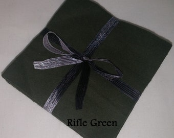Solid RIFLE GREEN, FLANNEL Fabric Squares,  Rag Quilt, Traditional Quilting, pick size & quantity, We Cut You Sew