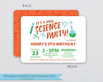Mad Scientist - Science Birthday Party Invitation - Instant Download & Editable File - Personalize at home with Adobe Reader
