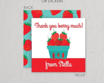 Strawberry Stickers or Cardstock Gift Tags . Strawberry Birthday Party . for Favors, Treat Bags and Envelope Seals