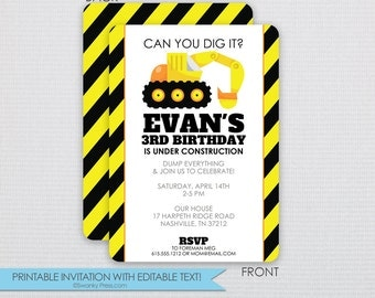 Backhoe | Digger | Construction Birthday Party Invitation - DIY - Instant Download & Editable File - Personalize at home with Adobe Reader