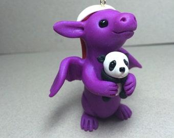 Pearl Purple Dragon Ornament with A Teddy bear and Scarf by Shelly Schwartz