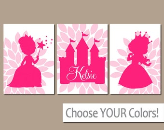 PRINCESS Wall Art, Princess Castle, Baby Girl Nursery Wall Art, Girl Bedroom Pictures, CANVAS or Prints, Set of 3 Personalized Girl Decor