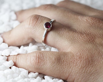 Silver Ruby Ring Sterling Promise Rings for Women July Birthstone