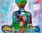 """Buddha, spiritual art 12x12"""" original painting."""