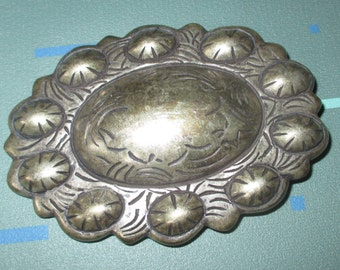Vintage Large Southwest Silver Tone Belt Buckle Made in Spain