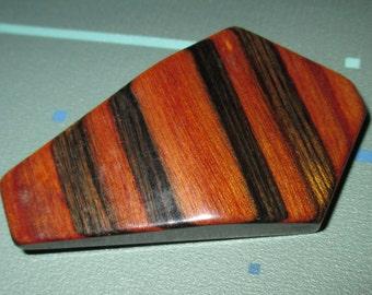 Vintage MOD Mid Century Striped Wood Geometric Pin Brooch