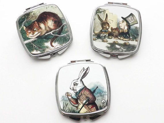 Alice COMPACT MIRRORS hand pocket mad hatter for her cheshire cat party favor stocking stuffer hostess gift accessories