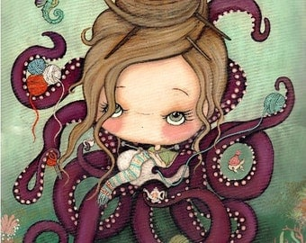 Knitting Octopus Print Nautical Knitter Girl Cute Catfish Seahorse Art---11 x 14 LARGE PRINT