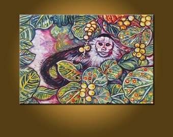 Monkey See -- 20 x 30 inch Original Oil Painting by Elizabeth Graf on Etsy, Art Painting Art & Collectibles