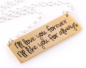 Custom Quote Necklace - Hand Stamped Personalized Quote Necklace in Silver, Gold, or Rose Gold