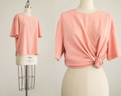 90s Vintage Peach Pink Slouchy Tunic Blouse / Size Medium