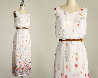 90s Vintage White Floral Print Maxi Dress / Size Medium / Grunge Revival 1990s Hipster Style