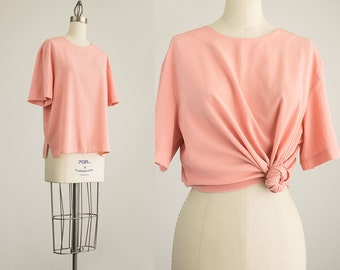 20% Off With Coupon Code! 90s Vintage Peach Pink Slouchy Tunic Blouse / Size Medium