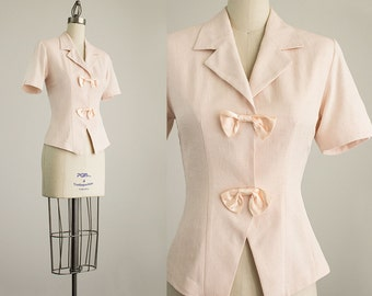 90s Vintage Light Pink Satin Bow Tie Button Front Blouse / Size Small