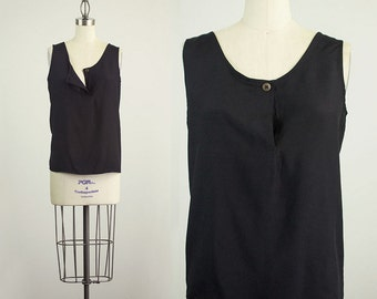 90s Vintage Black Slouchy Button Tank Top / Size Small