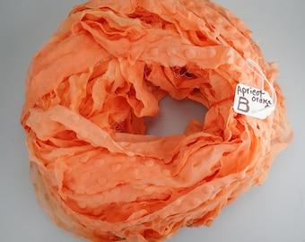 Chiffon Sari Ribbon, recycled Chiffon Sari ribbon, bubble ribbon, Apricot ribbon, PLEASE READ