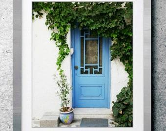 "Cottage Decor Blue Wall Art Door Photography Cornflower Blue Green White Greece Mediterranean Decor 8x10 20x24 print ""Blue Door and Vine"""