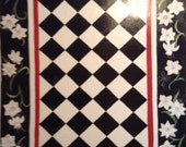 "FLOORCLOTH / Hand Painted Rug  30""x56""  Floral / Harlequin / Black, White & Red"