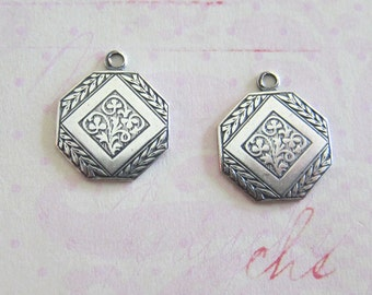 NEW Embossed Silver Charms 3722