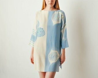 Vintage Hand Painted Blue Silk Dress